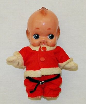 Rare CHRISTMAS KEWPIE Santa DOLL Strung Arms CELLULOID Vintage JAPAN