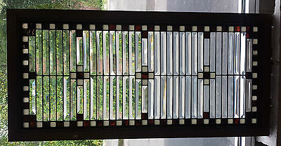 SUPER NICE large Vintage beveled stain glass combination  window  Art Deco zinc