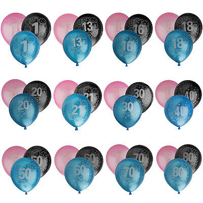 """20Pcs Number Balloons Age 1-80 Balloons Birthday Anniversary Party Gifts 10"""""""