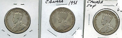 Canada 1919 1929 1931 50 Cents Silver George V Lot of 3 Collector Coins