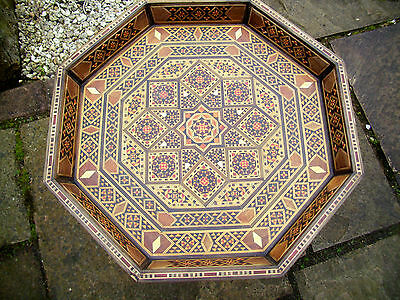 Superb Vintage Anglo/indian Fully Inlaid Octagonal Tray