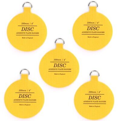 5 x ORIGINAL INVISIBLE 100mm DISC PLATE HANGER Self Adhesive/Stick Hanging Hook