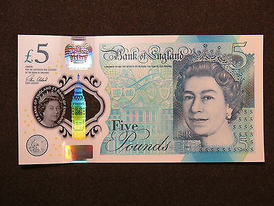 2016 £5 Polymer Bank Of England Note Great Britain Uk Pound Prefix Aa2828 Unc