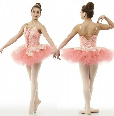 Dance Costume Dream Fulfilled Ballet Ballerina Tutu Salmon Gold Lace Child Only