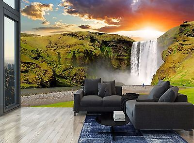 Iceland Waterfall Nature Sunset Wall Mural Photo Wallpaper GIANT WALL DECOR