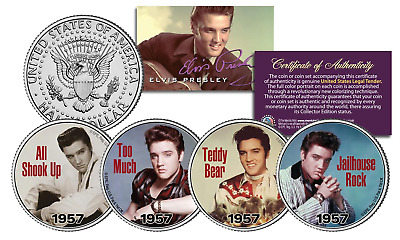 ELVIS PRESLEY 1957 #1 SONG HITS Licensed JFK Kenndy Half Dollars 4-Coin U.S Set