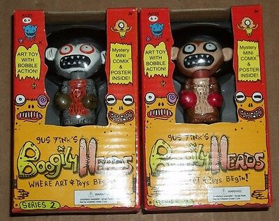 Rocket USA BOOGILY HEADS Gus Fink SQUIGGIE + GRAY VARIANT Series 2 BOBBLE New