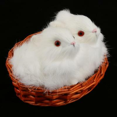 Realistic Rabbit Statue Plush Faux Fur Toy Table Decor Collectable Set of 2