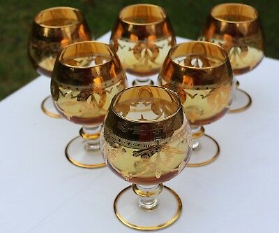 Superb Set Six Amber Glasses, Applied Stems, Etched & Rich Gold Guilding, SUPERB