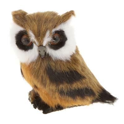 Realistic Night OWL Statue Plush Furry Kid Room Decor Collectable Set of 3