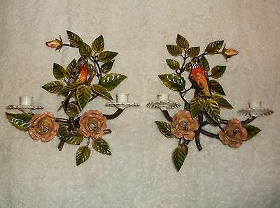 Pair Antique Hand Painted Italian Tole Candle Wall Sconce Pink Roses/ Song Birds