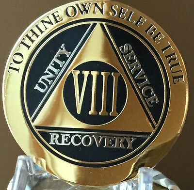 8 Year AA Medallion Black Gold Plated Bi-Plate Alcoholics Anonymous Chip Coin