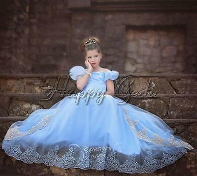 Girls Disney Cinderella Costume 2016 Birthday Party Tutu Princess Dress Up 4-10Y