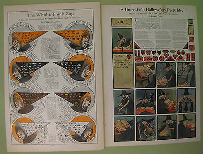 Bundle of 2 Antique 1912 In Lady Home Journal Witch Halloween Party Ideas