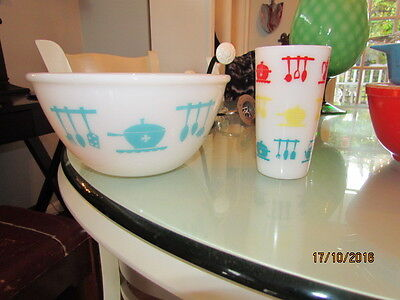 "Hazel Atlas Kitchen Aids Turquoise 8"" Bowl & Glass Tumbler"