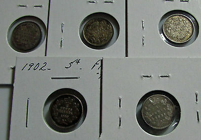 Canada 5 Cents  1886 1902 1907 1919 1920 Graded By  Bob Armstrong Silver Lot