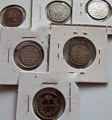 Canada 6 Better 5 Cents Silver Victoria 1870 RB 1872H 1874H 1881H 1896 1901