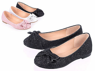 Silver Color Casual Glitter Bowknot Kids Youth Flats Girls Dress Shoes Size 2