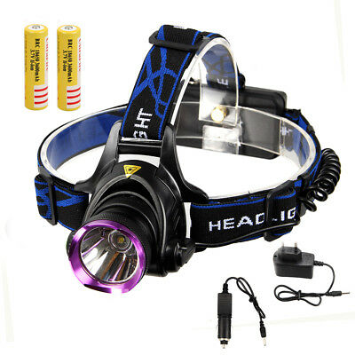 5000Lm CREE XML T6 LED Headlamp Frontal Phare Lampe Velo EU 18650 Piles chargeur