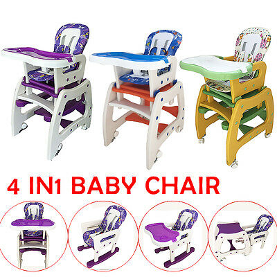 4in1 Baby Children High Chair Adjustable Feed Dinning Rocking Horse Table Set !
