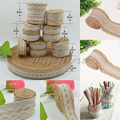 5M Jute Burlap Natural Hessian Ribbon With Lace Trim Edge Wedding Rustic Vintage