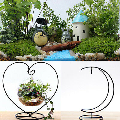 Moon/Heart Shape Hanging Plant Flower Pot Stand Holder Garden Decor