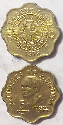 Philippines 5 Sentimos (redesigned seal) 1979-1982 19mm coin high grade 1pcs