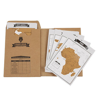 Travelogue Scratch World Map Travel Tips Book Journal Log Notebook Tourist Gift