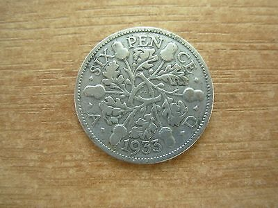 Vintage George V Silver Sixpence 1933 - Good Luck Wedding Birthday Etc