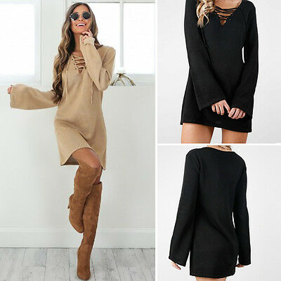 Winter Autumn Lace Up Women Long Sleeve BodyCon Slim Knit Sweater Dress Mini