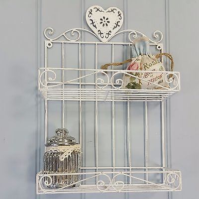 Off White Wall Hanging Shelf Display Kitchen Bedroom Bathroom Shabby Chic Style
