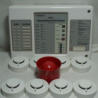 Used Cqr Firebrand Conventional Fire Panel With 8 X Smoke & 1 X Sounder Unit