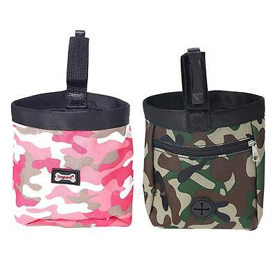 Camouflage Pet Dog Puppy Training Pouch Walking Treat Snack Bag Dispenser + Clip