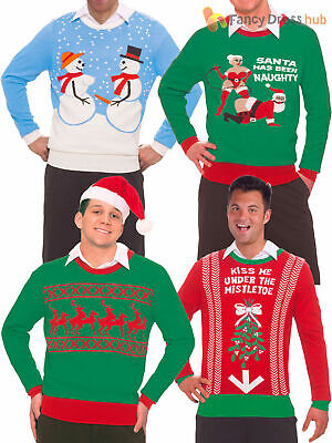 Mens Rude Christmas Jumper Funny Novelty Christmas Party Fancy Dress Costume