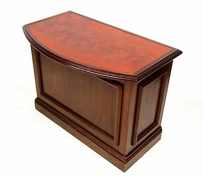 Mahogany Leather Desk Barristers Clerks Leather Desk Bowfront Repro Georgian Ant