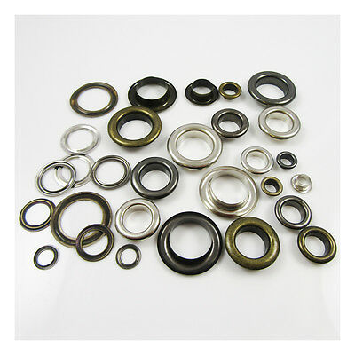 EYELETS 6mm - 17mm *6 SIZES* GROMMETS SILVER, ANTIQUE BRASS & BLACK - UK SELLER