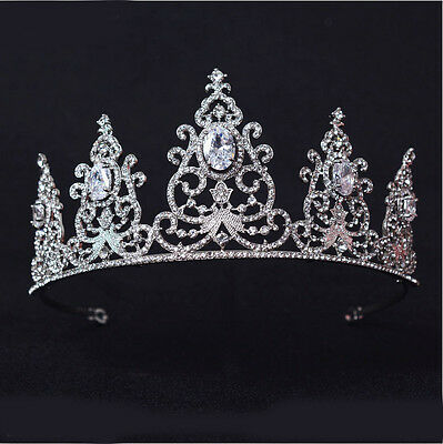 6cm High Full Crytal Wedding Bridal Party Pageant Prom Tiara Crown - 2 Colors