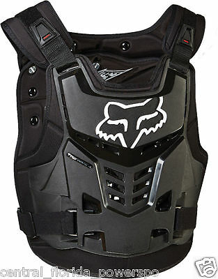 Fox Racing Mens Black Proframe LC Dirt Bike Chest Protector Small / Medium