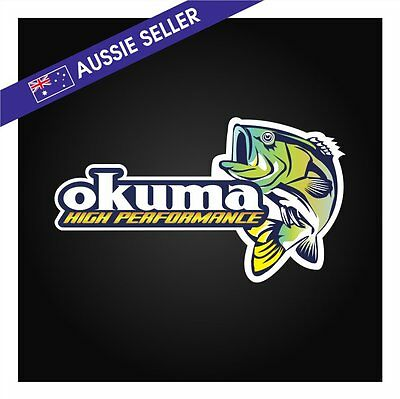 OKUMA Fishing Sticker Decal Rod Lures Bait Crab Pot Boat Tinny Hooks