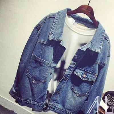 HOT Womens Harajuku Denim Oversized Vintage Jeans Jacket Boyfriend Loose Coat
