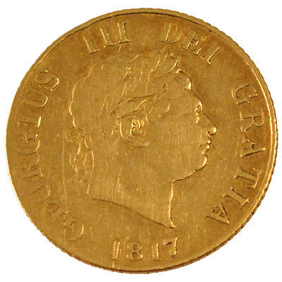 GREAT BRITAIN, 1/2 Sovereign, 1817, KM #673, EF(40-45), Gold, 3.88