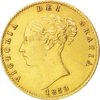 GREAT BRITAIN, 1/2 Sovereign, 1859, KM #735.1, AU(50-53), Gold, 4.00