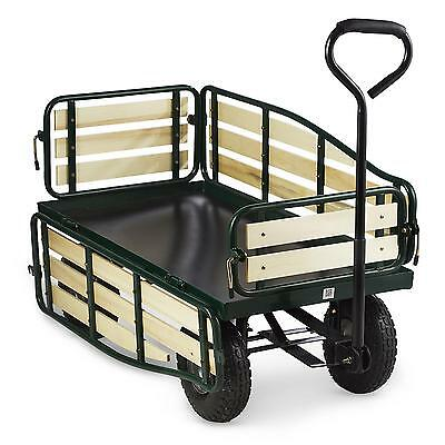 Waldbeck Handcart Wheelbarrow 4 Wheels Cart Trolley Heavy Duty 300 Kg Garden