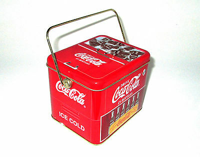 2001 Coca-Cola Brand Cooler Tin with Handle - Drink Coca-Cola In Bottles