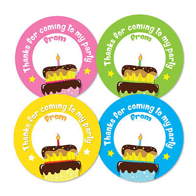 'Thanks For Coming To My Party' - Birthday Stickers - 4 colour packs, 30mm dia
