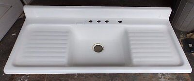 Vintage Cast Iron White Porcelain Double Drainboard Old Kitchen Sink 1796-16