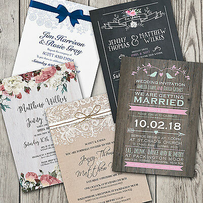Premium Personalised Wedding Day Evening Invitations with FREE Envelopes