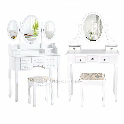 White Dressing Table Makeup Desk with Oval 1/3 Mirrors, 5/7 Drawers and Stool