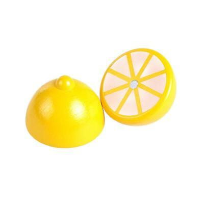 Wooden Pretend Play Magnet Connected Lemon Kids Cutting Fruit Food Toy Gift