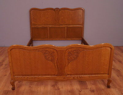 956 !! Wonderful Oak French Double Bed In Louis Xv Style !!